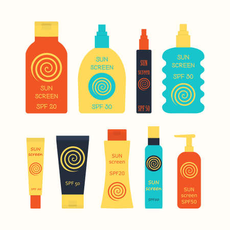 sun screen: Sunscreen bottle set. vector illustration of lotion  plastic container, cream packaging for sun screen, skin cancer protection, spray spf icon Illustration