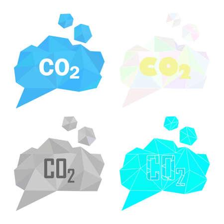 carbon emission: CO2 carbon dioxide gas illustration set. Low poly polygonal style concept for air pollution, gas emission, global warming, ecological problems. Gray smoke cloud, bricht blue, light color