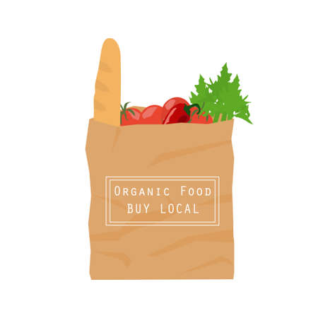 fresh produce: Brown paper bag from local market. Recycled pack with fresh organic food. Healthy vegetables grown locally. Isolated illustration on nutrition and ecological mindset. Illustration