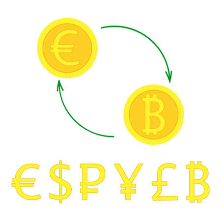 pound coin: Currency exchange with arrows. illustration of gold coin signs swap for banking, e-commerce, international trade, forex. Most popular money in flat style - euro, pound, dollar, bitcoin, pound, ruble.