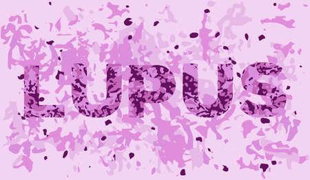 Lupus sjabloon met het uiterlijk van het zieke weefsel in de microscoop. illlustration van ziekte bewustzijn en behandeling Stock Illustratie