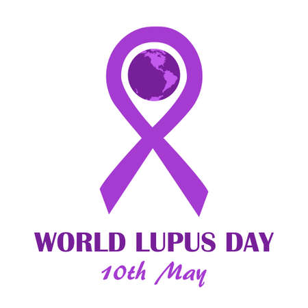 lupus: World lupus day template. Purple ribbon as disease awareness sign with earth globe. illustration of illness prevention and treatment