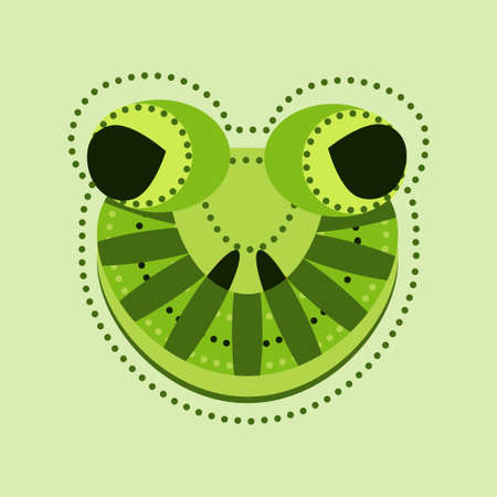 bullfrog: Ornate frog head. decorated frog with geometrical elements, mascot animal, frog mask