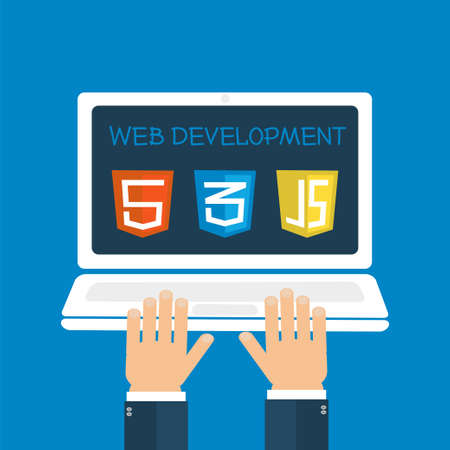 computer programming: Web development on laptop screen with programmers hands and software icons. illustration flat style. Computer programming, site building. Illustration