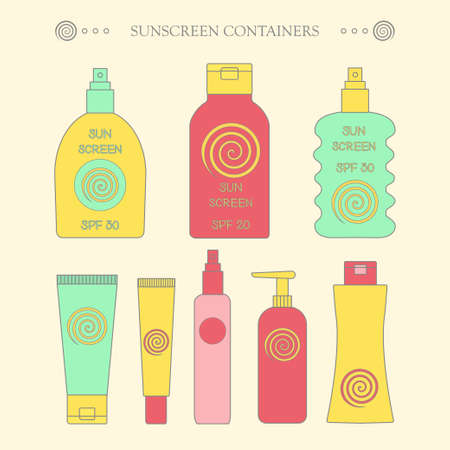 sun screen: Sunscreen bottle set. illustration of lotion  plastic container, cream packaging for sun screen, skin cancer protection, spray spf icon