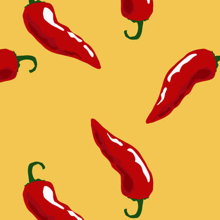 organic peppers sign: Hot chili  seamless pattern on yellow background.seamless pattern with spicy chili pepper.
