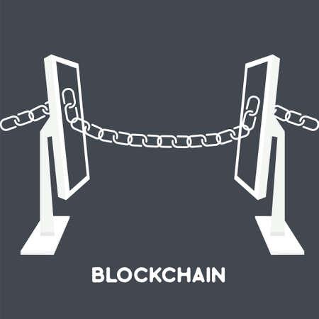 Blockchain 技術 concept.Computers 画面からチェーンで接続されています。web のセキュリティ、暗号化、仮想のお金、セキュリティで保護された電子商取引
