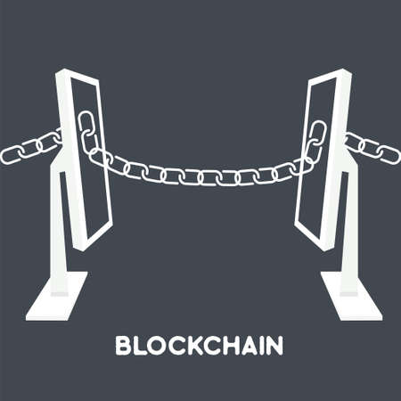 Blockchain technology concept.Computers connected by chain from screen. illustration of distributed database for web security, cryptography, virtual money, secure e-business.