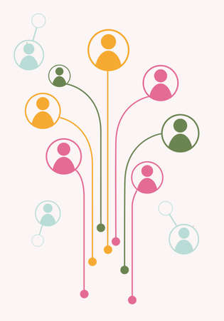 Avatars in circles connected with dot by line. illustration of growth tree for communication, business relations, social media, technology, global village, community connections. Flat design 向量圖像