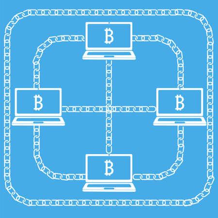 Blockchain technologie concept. Laptops met elkaar verbonden door ketting met Bitcoin embleem op het scherm. illustratie van gedistribueerde database voor webbeveiliging, cryptografie, virtueel geld, veilige e-business.