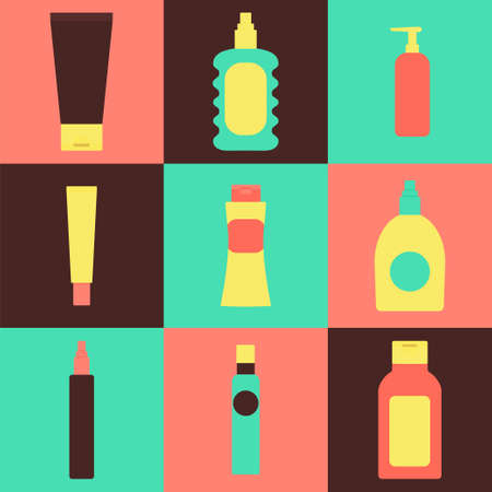 moisture: Cosmetics packaging icons. illustration of cream bottles, lotion, soap, moisture container, perfume jug isolated. Beauty and bodycare set. Flat style Illustration