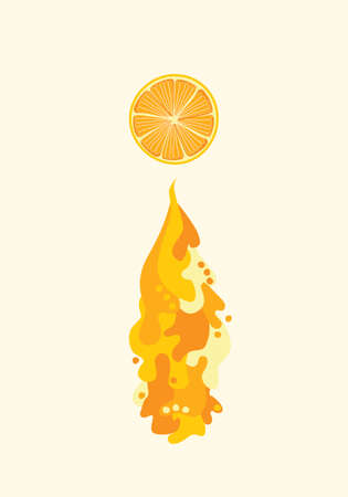 citron: Orange slice with flowing juice. liquid waves and splash. Healthy diet illustration, vegetarian vegan food. Fresh juicy drink, tasty fruit