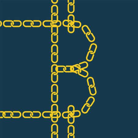 ゴールドのチェーンが Bitcoin。暗号化、セキュリティで保護されたデジタル ビジネス仮想マネーの blockchain 技術のイラスト。
