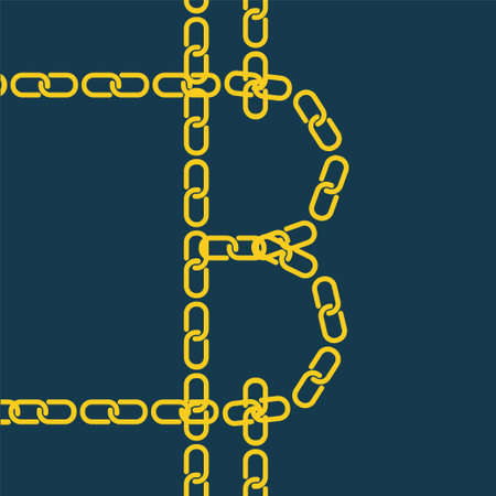 distributed: Bitcoin by gold chain. illustration of blockchain technology for virtual money, secure digital business, cryptography.