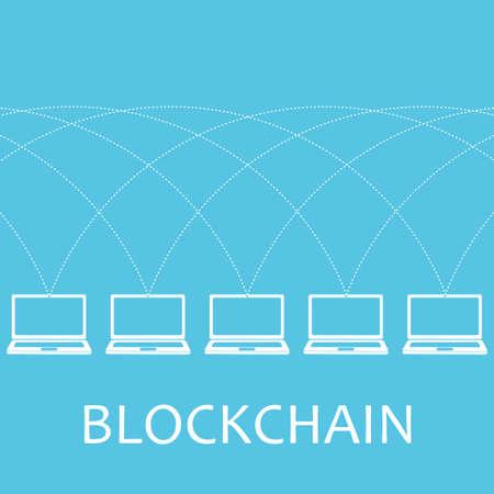 Blockchain technologie concept.Laptops verbonden door de netto. illustratie van gedistribueerde database voor webbeveiliging, cryptografie, virtueel geld, veilige e-business, internet. Stock Illustratie
