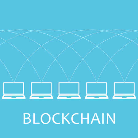 distributed: Blockchain technology concept.Laptops connected by net. illustration of distributed database for web security, cryptography, virtual money, secure e-business, internet. Illustration