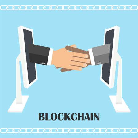 コンピューターの画面から握手。blockchain 技術、セキュリティで保護された電子商取引、デジタル業務、電子商取引のイラスト。