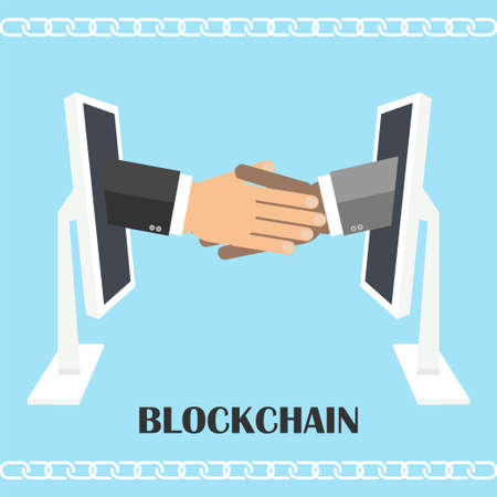 distributed: Handshake from computer screen. illustration of blockchain technology, secure e- business, digital finance operations, e-commerce.