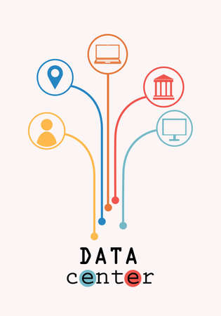 big tree: Big data center tree. illustration with icons for technology, collecting information, cyberspace, software. Flat design