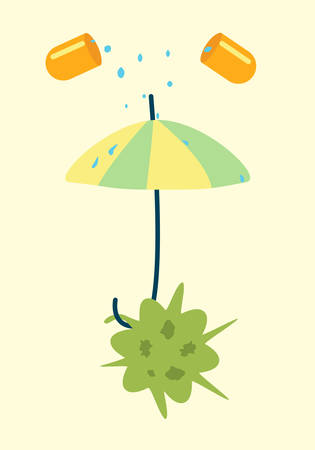umbrella cartoon: Antibiotics resistance umbrella concept. illustration of a bacteria defending against pill Illustration