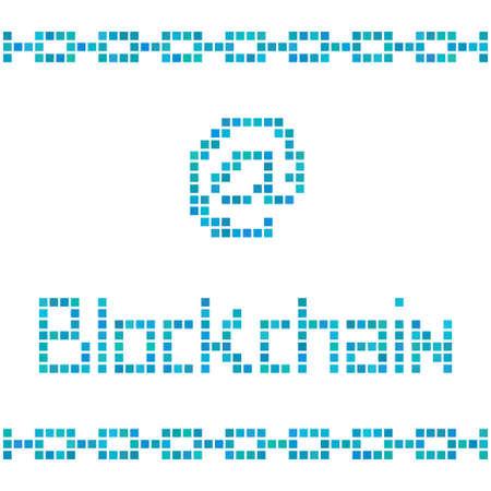 peer to peer: Blockchain concepto de cuadrados de colores. ilustración para la tecnología de la cadena de bloques, criptomoneda Bitcoin, el protocolo de seguridad digital, de igual a igual transacción