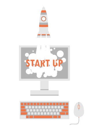 product innovation: Start up concept with a rocket launching from computer screen. illustration for new business, web product, innovation