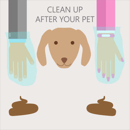 to clean up: Clean up after your pet illustration. flat style warning for dog owners with hands in  plastic bags Illustration