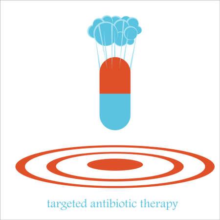 爆弾のような錠剤カプセルによって抗生物質療法の概念を対象とします。医療問題の薬、病院の政策への抵抗の図