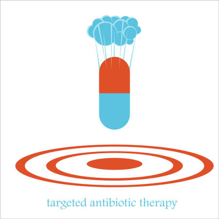 Targeted antibiotic therapy  concept with a pill capsule  like a bomb. illustration of medical problems, resistance to drugs, hospital policy Illustration
