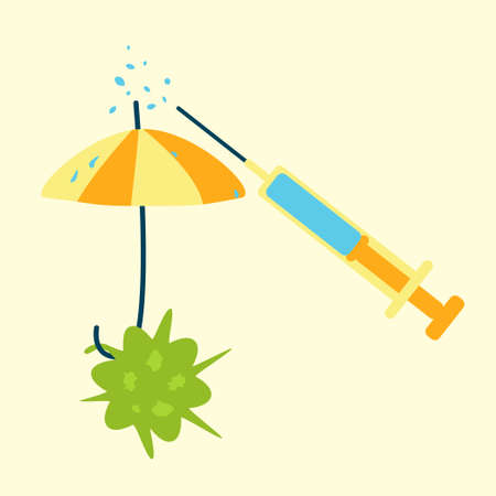 Antibiotics resistance concept. Bacteria defending against  rain of medicine drug from syringe with an umbrella Illustration