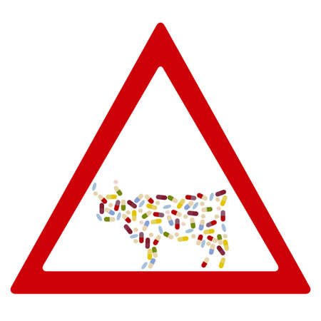 cattle breeding: Cow by  drug pills in traffic forbidden sign concept. Vector illustration for antibiotic resistance, modern pharmacology in cattle breeding, excessive medication of domestic animals Illustration