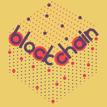 distributed: Blockchain volume square. Vector illustration for block chain computer technology, bitcoin cryptocurrency, distrubeted database security protocol