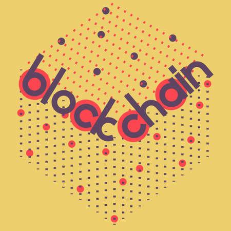 Blockchain Volumen Platz. Vektor-Illustration für Block-Kette Computer-Technologie, bitcoin Kryptowährung, distrubeted Datenbank-Sicherheitsprotokoll