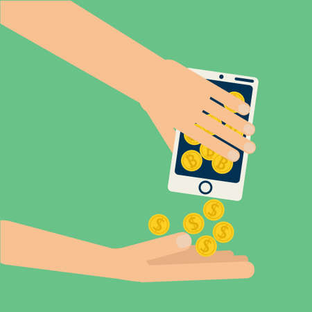 hands shaking: Hands shaking smartphone with bitcoin collecting dollar coins. Vector illustration on virtual money, online business, commerce, exchange in flat style Illustration
