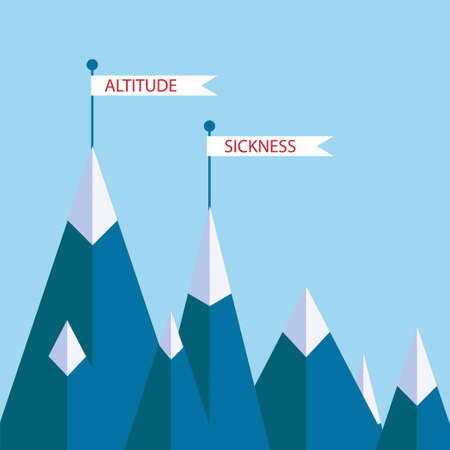 Altitude sickness mountains concept. Vector illustration for high above sea level disease, hypoxia, breathing problems while climbing, hiking sport