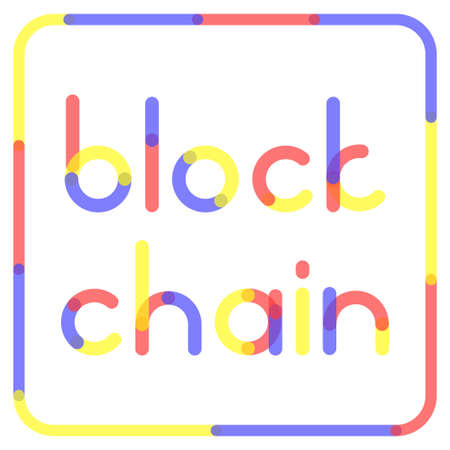 protocol: Blockchain rounded letters. Vector illustration for block chain computer technology, bitcoin cryptocurrency, distrubeted database security protocol