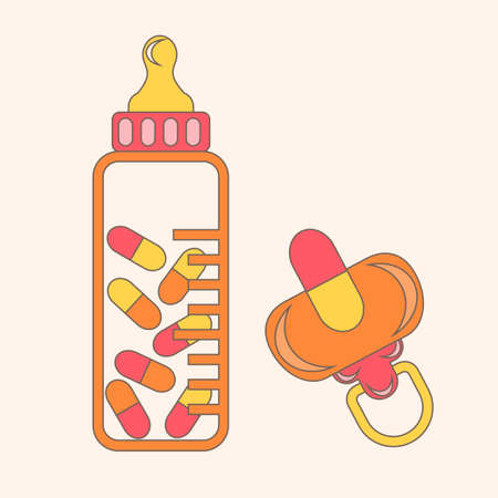 babys dummies: Excessive medication for baby concept with pacifier and bottle full of pills. Vector illustration for antibiotics resistance, vaccination, medicament prescription, drug pharmacy for children.