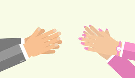 applauding: Applause gesture by man and woman. Vector illustration for appreciation sign in flat style. Hand clasping both male female, cheer expression Illustration