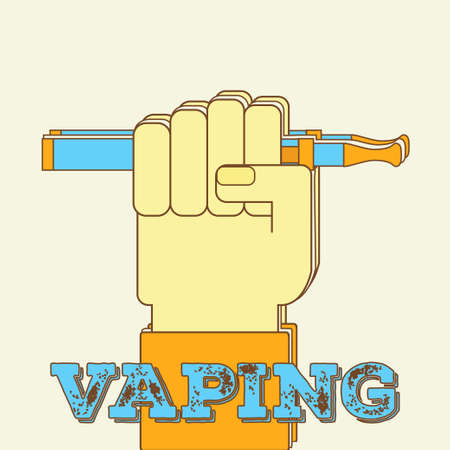 vaporizer: Vaping concept with hand holding e-cigarette. Vector illustrationof a fist ight gesture with vaporizer. Modern lifestyle trend, hipster subculture banner, flyer, ad.