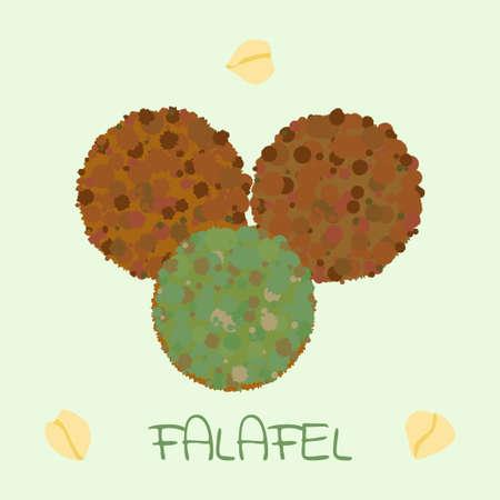 comida arabe: bola de falafel - comida �rabe de garbanzos. Ilustraci�n del vector para el men� vegetariano, plato tradicional de la cocina oriental, el este de aperitivo