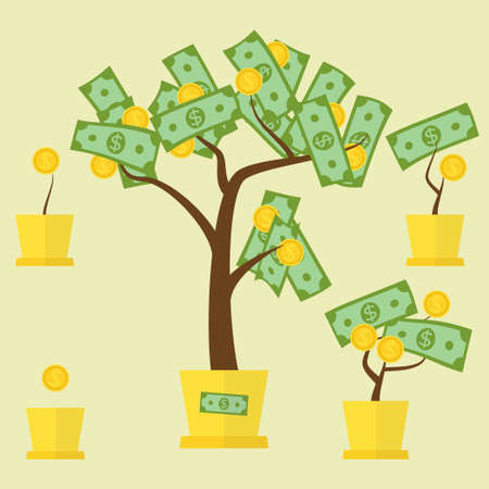 abundance of money: Money tree concept with green dollars as leafs and golden coins as fruit. Vector illustration for financial growth, banking, abundance, income, start up, market gain