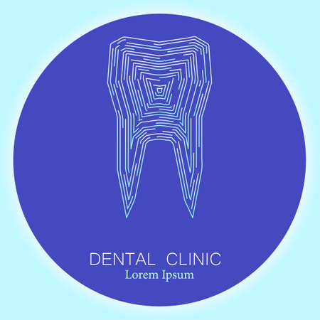 stomatology: Dental clinic. Vector illustration of a tooth in modern futuristic style. Stomatology symbol in white and blue colors