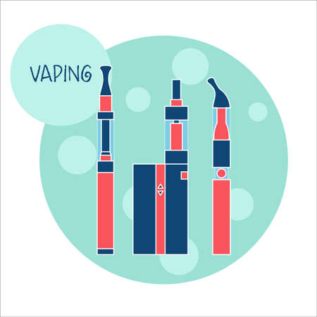 e cig: Vaping e-cigarette devices. Vector illustration of equipment for vaping, trendy subculture, in flat style. E-cig consists of battery, atomizer, liquid of different flavors.