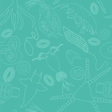 plancton: Modelo inconsútil de plancton. Ilustración del vector con pequeño organismo tanto fitoplancton y zooplancton. Ideal para tela, materia textil, fondo, papel pintado, papel de regalo en tema de la naturaleza biologcal ambiental.