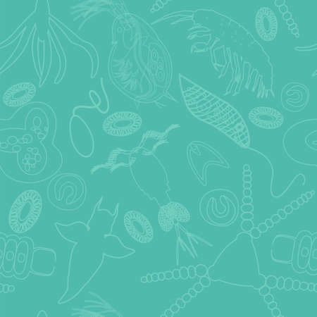 peat: Plankton seamless pattern. Vector illustration with small organism both phytoplankton and zooplankton. Ideal for fabric, textile, backdrop, wallpaper, wrapping paper on environmental biologcal nature theme.