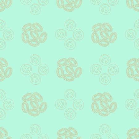 plancton: Modelo inconsútil de plancton. Ilustración del vector con pequeño organismo de fitoplancton. Ideal para tela, materia textil, fondo, papel pintado, papel de embalaje en el tema de la naturaleza biológica del medio ambiente.