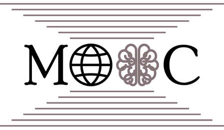 massive: Mooc concept with globe and brain icons. Vector illustration foe massive open online course, e-learning, computer based education, online training.