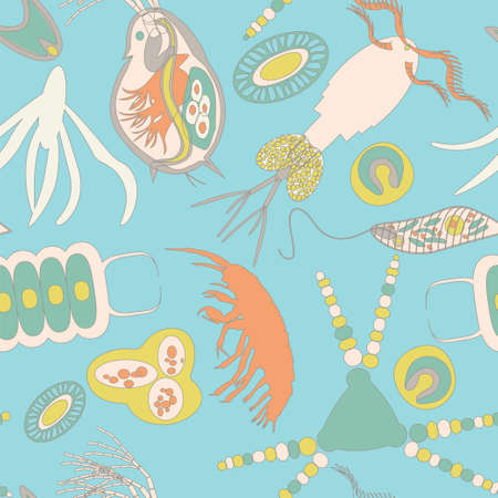 plancton: Modelo inconsútil de plancton. Ilustración del vector con pequeño organismo tanto fitoplancton y zooplancton. Ideal para tela, materia textil, fondo, papel pintado, papel de embalaje en el tema de la naturaleza biológica del medio ambiente.