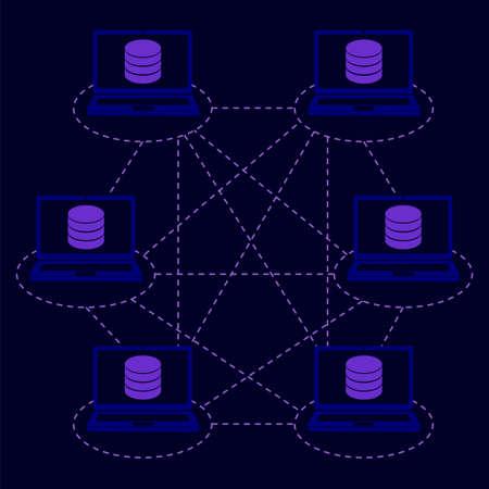分散データベースの概念。ブロックチェーン技術、ビッグデータ、情報ストレージ、ネットワークシステム向けベクトルイラスト  イラスト・ベクター素材