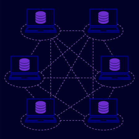 Gedistribueerd databaseconcept. Vectorillustratie voor blockchaintechnologie, big data, informatieopslag, netwerksysteem
